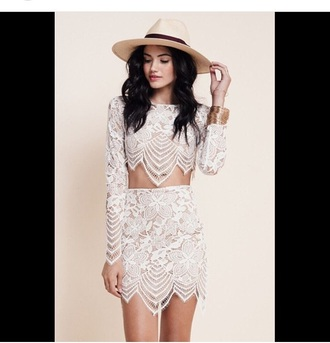 top long sleeves long sleeve crop top jewels accessories hat hair accessory outfit party outfits summer outfits spring outfits white crop tops white skirt skirt lace top lace skirt see through white top cute top two-piece