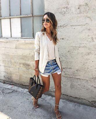 shorts white shirt white blazer denim shorts black bag beige strappy sandals blogger sunglasses