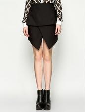skirt,cameo,black skirt,cameo the label,assymetrical skort,asymmetrical,high waisted skirt,designer