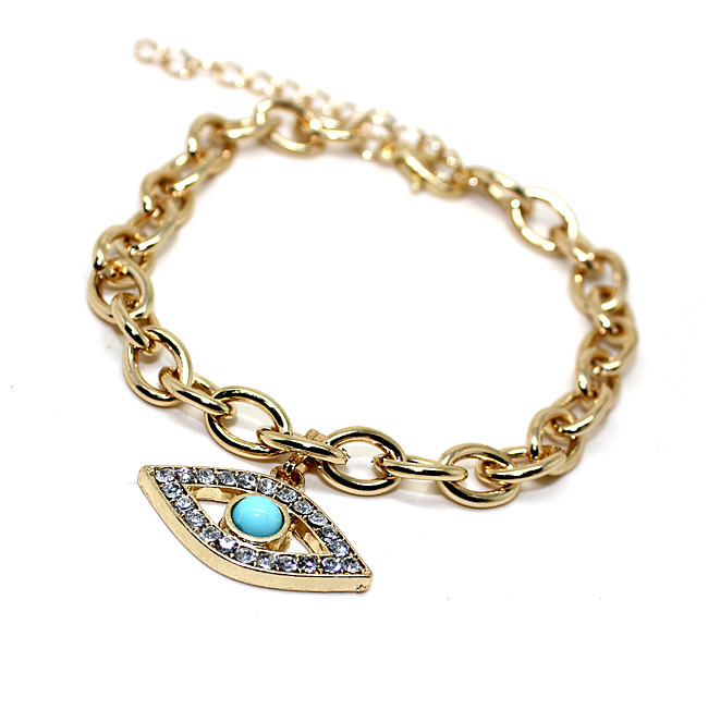 Fashion evil eye charm bracelet gold plated bracelet for women 2014 new B2 182-in Chain & Link Bracelets from Jewelry on Aliexpress.com