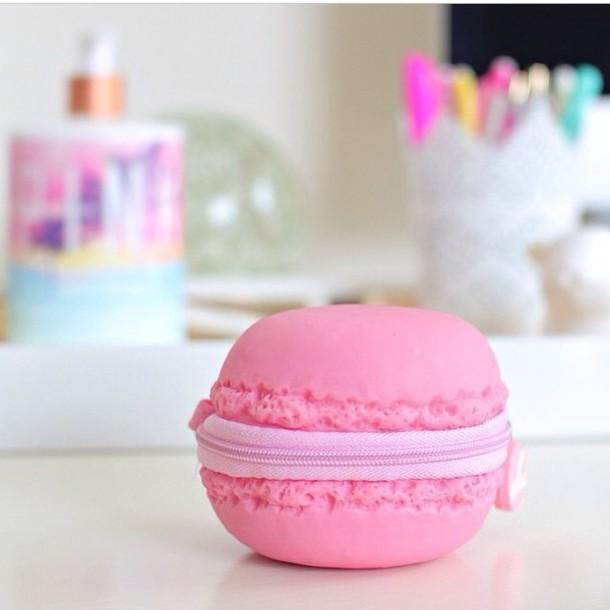 bag pink macaron coin pouch