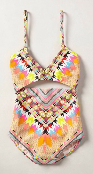 wild top colour pattern bottoms colorful lovely perfect best vest twopiece swimwear aztec colorful one piece