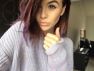 acacia brinley purple fall outfits youtube youtuber girl nice cute sweaters fashion purple hair sweater
