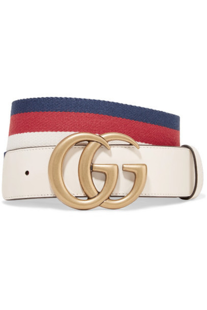 Gucci - Striped Canvas And Leather Belt - Ivory