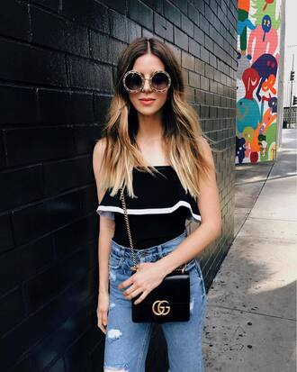 sunglasses ruffled top tumblr round sunglasses top black top tube top ruffle bag black bag denim jeans blue jeans