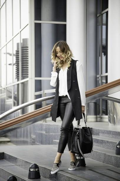 let's talk about fashion ! blogger dress jacket pants bag blouse jewels sixkisses spring pu