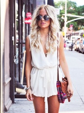 bag,Accessory,dress,romper,jumpsuit,white,brown bag,shoulder bag,summer dress,summer,sunglasses,hippie,hipster,soft grunge,chiffon,white romper,flowy,elegant,jumper,short,low cut