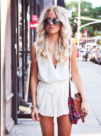 bag accessory dress romper jumpsuit white brown bag shoulder bag summer dress summer sunglasses hippie hipster soft grunge chiffon white romper flowy elegant jumper short low cut white dress boho purse goth hipster white jumpsuit v neck white playsuit cute