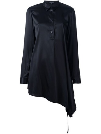 shirt asymmetric shirt long black top