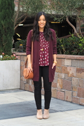 puttingmetogether,blogger,top,cardigan,jeans,shoes,bag,jewels,burgundy,shoulder bag,booties,black jeans