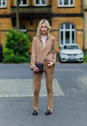 lisa rvd,blogger,shirt,pants,shoes,bag,gucci princetown,gucci,gucci shoes,beige pants,suede pants,beige shirt,black bag,fall outfits,slide shoes,black slides,black shoes