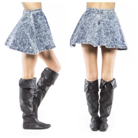 denim acid wash skirt denim skirt skater skirt