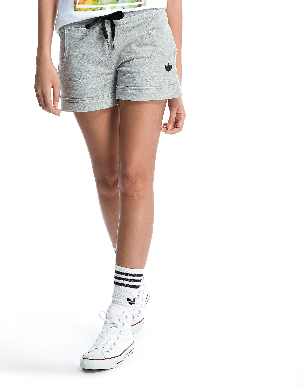 Up to 50% off Womens adidas Originals Slim Shorts - Grey/Black
