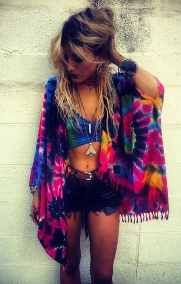 tie dye top jacket kimono shorts clothes