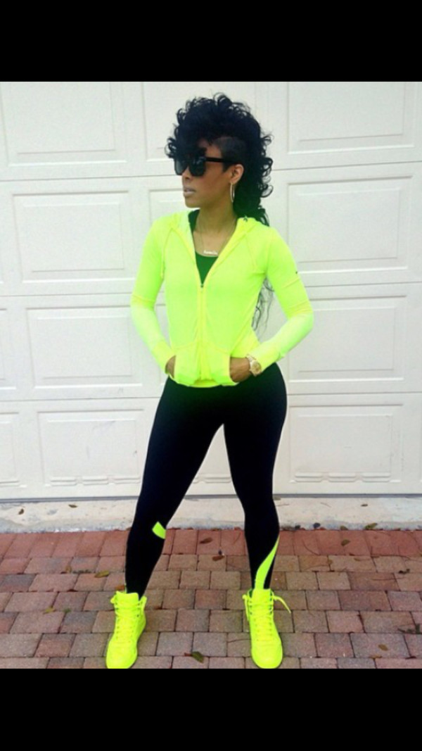 shoes gucci sneakers blackbarbie trendy swag sporty lime neon gucci sneakers keyshia kaoir sportswear leggings fashion black sunglasses summer bright sneakers dope sports jacket jersey jacket pants hoodie jeans high waisted