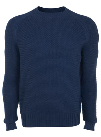 Blue Textured Crew Neck Jumper - Mens Knitwear  - Clothing  - Burton