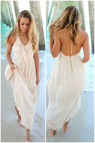 dress amazinglace amazinglace.com maxi summer beach cream pretty ruffles