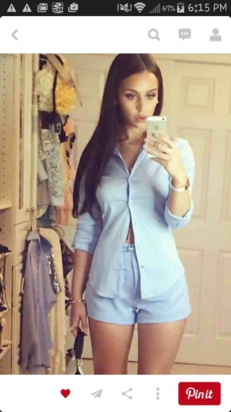 shorts blue bluse blue shirt blue shorts