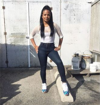 top instagram christina milian sneakers skinny jeans jeans