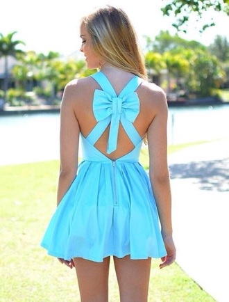 dress blue dress bow back dress