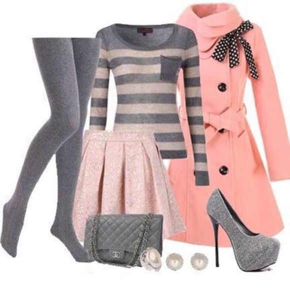grey pink jacket sweet