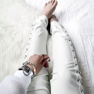 leggings leather leggings tie up lace up tis side white trousers maniere de voir