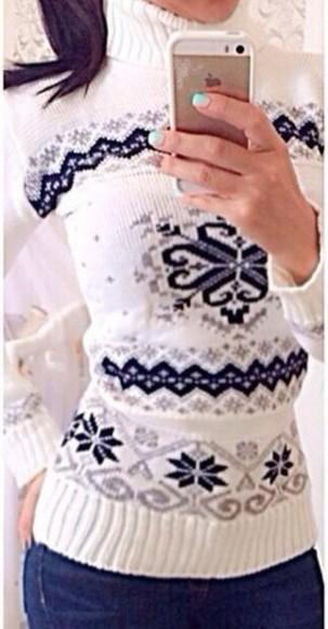 sweater knitwear pullover christmas ornaments scandinavian white turtleneck