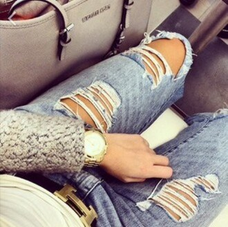 belt jeans ripped jeans watch bag michael kors gold watch silver bag