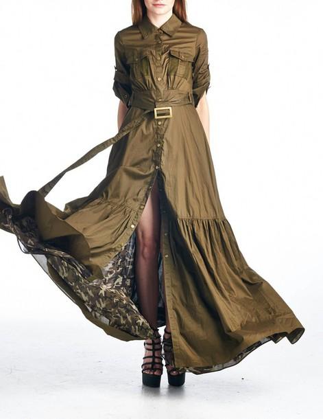 dress maxi olive green long dress