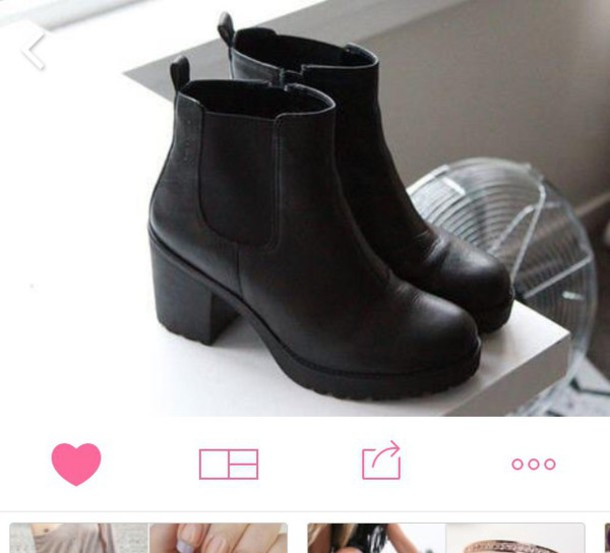 shoes black heels chelsea boots heeled