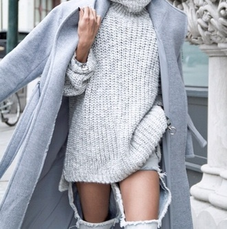 coat grey coat long coat winter coat jeans heavy knit jumper top jumper grey high neck sweater knittedgirl