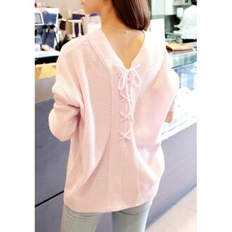 sweater lace up cute knitwear casual lace up jumper
