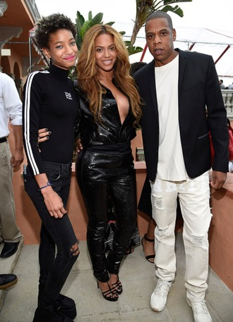 jumpsuit faux leather jay z grammys 2015 sandals