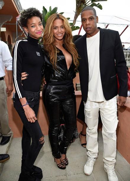 jumpsuit faux leather Jay Z grammys 2015 sandals