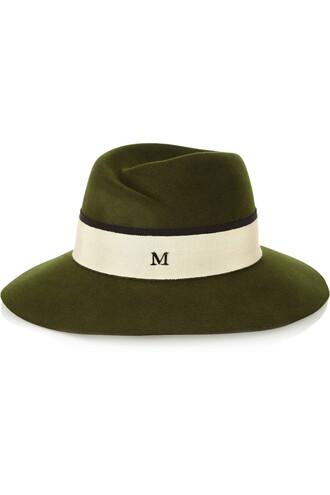 fedora dark green hat