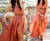dress,flowwy,loose,beautiful,summer dress,brown,belt