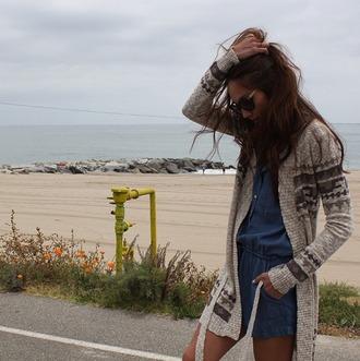 sweater romper denim romper tribal cardigan cardigan tie waist cardigan beach beach style california style bohemian boho girl