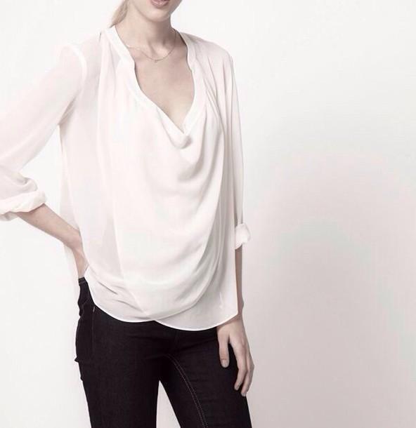 blouse white white top