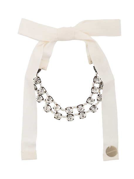 ANN DEMEULEMEESTER bow women embellished cotton grey metallic jewels