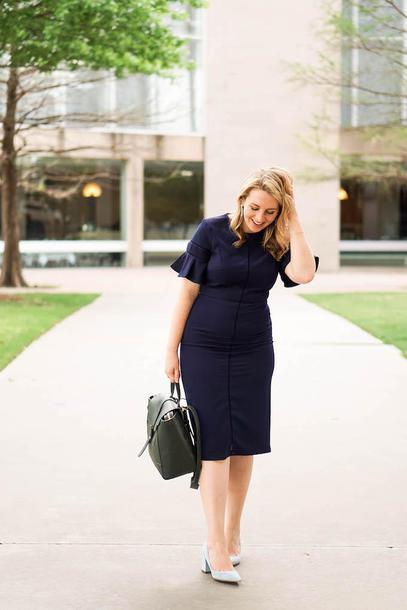 glitter&spice blogger dress jewels bag backpack navy dress pumps