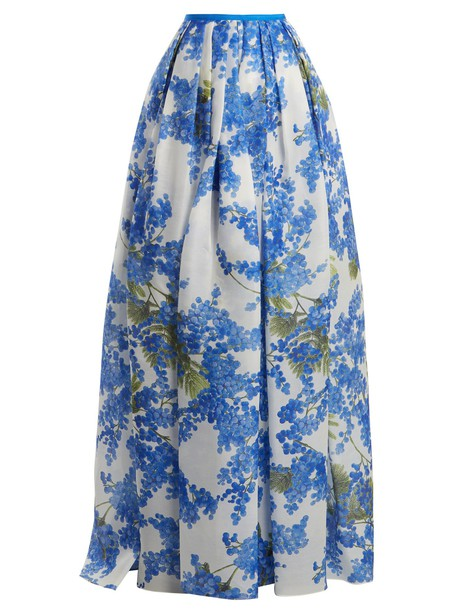 Carolina Herrera skirt pleated skirt pleated floral print white blue