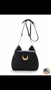 bag,black bag,cat ears,kawaii,sailor moon,black,purse,satchel bag,moon,fashion,cute,girly,outfit,teenagers,cats,luna,chain bag,shoulder bag,grunge,white bag,white,lilac,crossbody bag