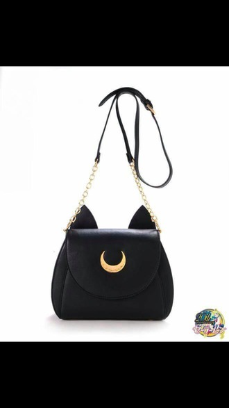 bag black bag cat ears kawaii sailor moon black purse satchel bag moon fashion cute girly outfit teenagers cats luna chain bag shoulder bag grunge white bag white lilac