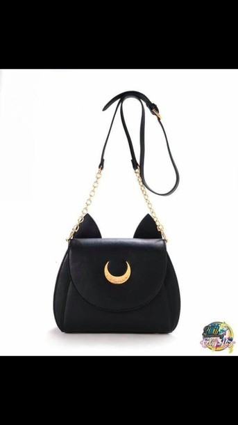 bag black bag cat ears kawaii sailor moon black purse satchel bag moon fashion cute girly outfit teenagers cats luna chain bag cats shoulder bag grunge white bag white lilac crossbody bag
