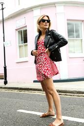 dress,tumblr,floral,floral dress,red dress,mini dress,jacket,leather jacket,shoes,slide shoes,sunglasses
