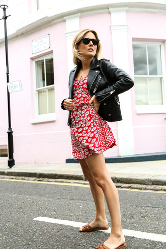 dress tumblr floral floral dress red dress mini dress jacket leather jacket shoes slide shoes sunglasses