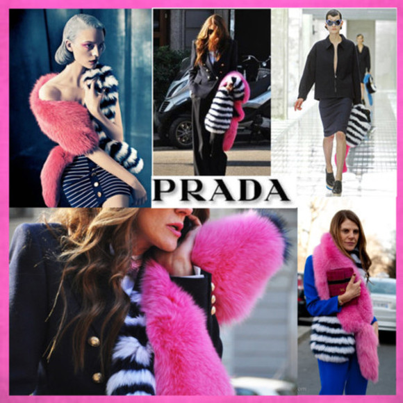 prada prada 2011 spring summer 2011 scarf prada scarf pink color block stripes fur fur scarf faux fur fashion accessories chic accessories accessories womens accessories fashion trendy beige b&w black and white stripes long big
