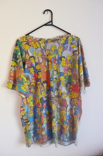 t-shirt the simpsons colorful tumblr shirt top characters homer maggie bart simpson oversized t-shirt cute want cartoon simpson t-shirt springfield homer simpson fancy yellow funny shirt vintage retro grunge tv series movies show large 90s style cool
