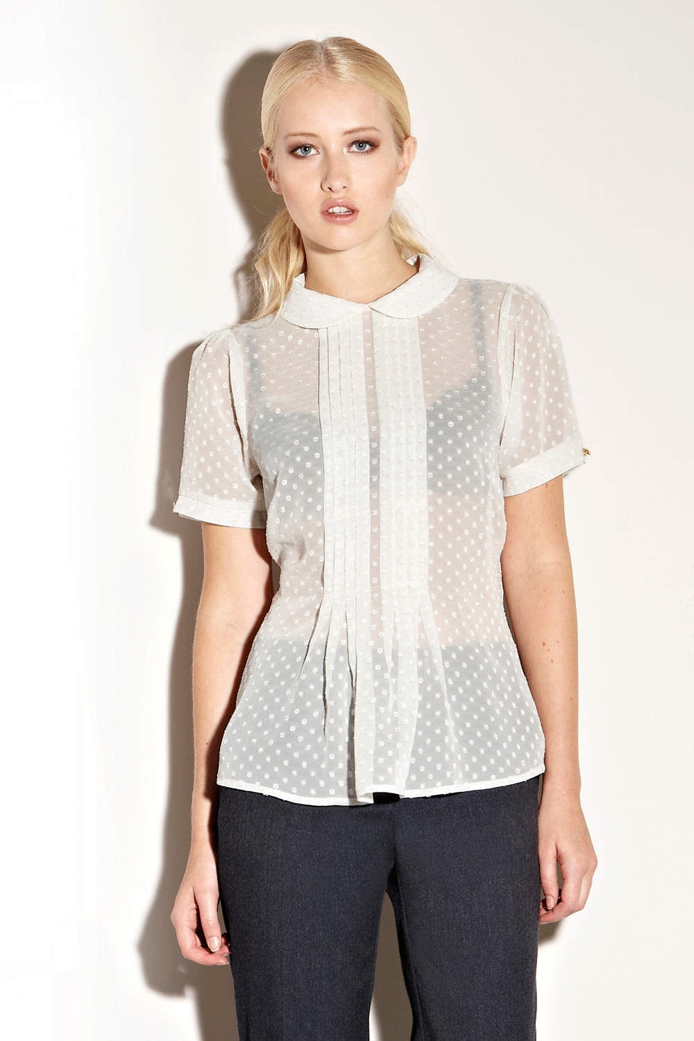 Warehouse Tops |  CREAM Peter Pan Dobby Spot Blouse | Fashion Clothing | Warehouse Fashions
