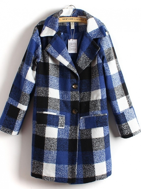 Winter Selected Wide Lapel Plaid Straight Design Coats For Women
